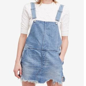 Free people cotton ripped overalls dress